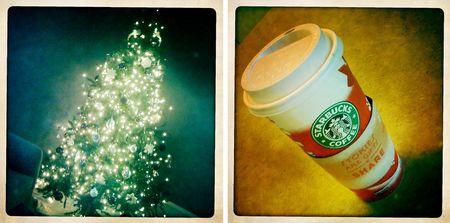 Christmas tree and starbucks cup